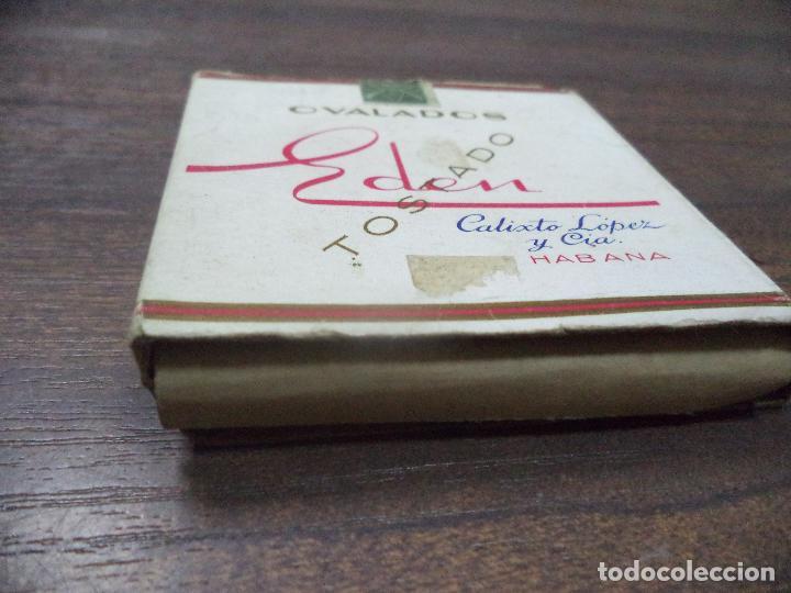 Paquetes de tabaco: PAQUETE DE TABACO DE CARTON. EDEN, CALIXTO LOPEZ Y CIA. HABANA. MEDIDAS : 8 X 8. VER FOTOS. - Foto 2 - 128220839
