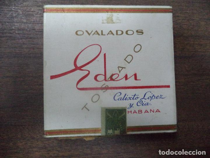 PAQUETE DE TABACO DE CARTON. EDEN, CALIXTO LOPEZ Y CIA. HABANA. MEDIDAS : 8 X 8. VER FOTOS. (Coleccionismo - Objetos para Fumar - Paquetes de tabaco)