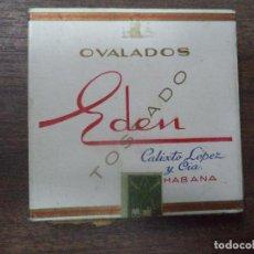Paquetes de tabaco: PAQUETE DE TABACO DE CARTON. EDEN, CALIXTO LOPEZ Y CIA. HABANA. MEDIDAS : 8 X 8. VER FOTOS.. Lote 128220911