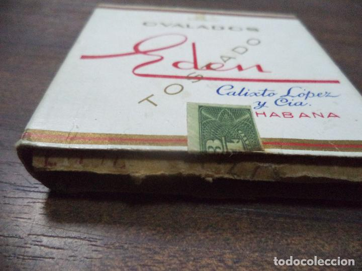 Paquetes de tabaco: PAQUETE DE TABACO DE CARTON. EDEN, CALIXTO LOPEZ Y CIA. HABANA. MEDIDAS : 8 X 8. VER FOTOS. - Foto 2 - 128220911