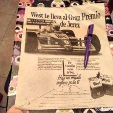 Paquetes de tabaco: ANTIGUO RECORTE PERIODICO PAQUETE DE TABACO WEST GRAN PREMIO WEST DE JEREZ AÑOS 80. Lote 130931496