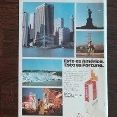 Paquetes de tabaco: RECORTE PRENSA PUBLICIDAD TABACO FORTUNA 28X21 CMS. PAQUETE CIGARROS . Lote 130963048