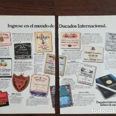 Paquetes de tabaco: RECORTE PRENSA PUBLICIDAD TABACO DUCADOS INTERNACIONAL DOBLE PAGINA (28X21 CMS) X2. PAQUETE CIGARROS. Lote 130963316