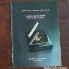 Paquetes de tabaco: RECORTE PRENSA PUBLICIDAD TABACO JOHN PLAYER SPECIAL 28X21 CMS. PAQUETE CIGARROS JPS. Lote 130963464