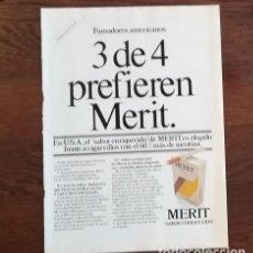 Paquetes de tabaco: RECORTE PRENSA PUBLICIDAD TABACO MERIT 28X21 CMS. PAQUETE CIGARROS . Lote 130963512