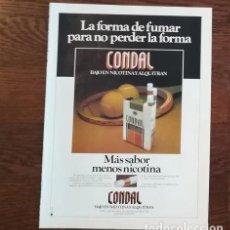 Paquetes de tabaco: RECORTE PRENSA PUBLICIDAD TABACO CONDAL 28X21 CMS. PAQUETE CIGARROS . Lote 130963584