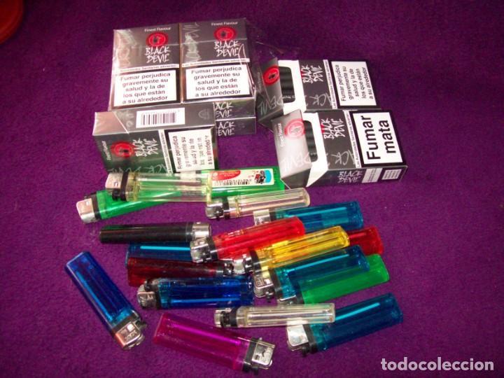7 PAQUETES CIGARRILLOS BLAK DEVIL - 5 PRECINTADOS Y 2 ABIERTOS PERO COMPLETOS - REGALOS 11 MECHEROS (Coleccionismo - Objetos para Fumar - Paquetes de tabaco)
