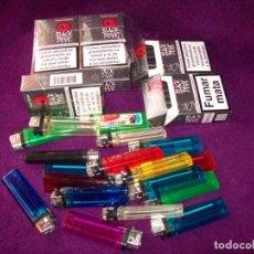Paquetes de tabaco: 7 PAQUETES CIGARRILLOS BLAK DEVIL - 5 PRECINTADOS Y 2 ABIERTOS PERO COMPLETOS - REGALOS 11 MECHEROS. Lote 132017082