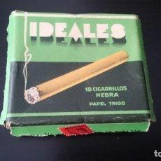 Paquetes de tabaco: CAJA DE CARTÓN DURO TABACO IDEALES 18 CIGARRILLOS HEBRA - CAJA VACÍA - COMPAÑÍA ARRENDATARIA TABACOS. Lote 132588494