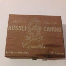 Paquetes de tabaco: RÖSSLI CARINO DÉCJETA HAVANE CAJA MADERA CIGARRILLOS TABACO GESCH GERMANY. Lote 133673031