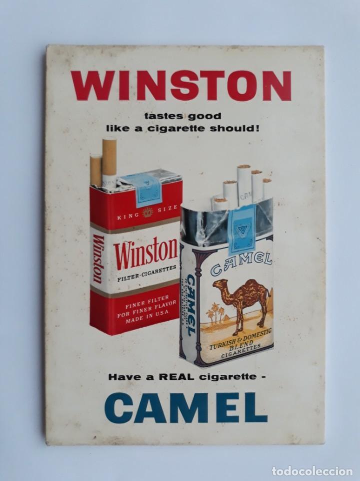 DISPLAY, CARTEL PUBLICIDAD TABACO CIGARRILLOS WINSTON Y CAMEL, CIGARRO, CARTON DURO (Coleccionismo - Objetos para Fumar - Paquetes de tabaco)