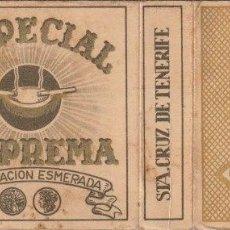 Paquetes de tabaco: ENVOLTORIO PAQUETE DE TABACO CIGARRILLOS ESPECIAL SUPREMA SANTA CRUZ DE TENERIFE - -C-53. Lote 139749646