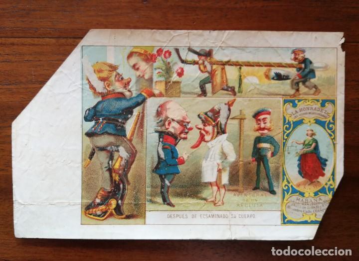 AVENTURAS DE UN RECLUTA - 4 MARQUILLAS ( PAQUETES ) DE TABACO FABRICA LA HONRADEZ CUBA 1860/1870 (Coleccionismo - Objetos para Fumar - Paquetes de tabaco)