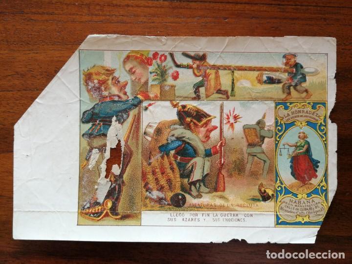 Paquetes de tabaco: AVENTURAS DE UN RECLUTA - 4 MARQUILLAS ( PAQUETES ) DE TABACO FABRICA LA HONRADEZ CUBA 1860/1870 - Foto 3 - 142958866