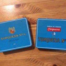 Paquetes de tabaco: 2 LATAS TURQUESA NO 4 TABACO CIGARROS TENERIFE. Lote 143154364
