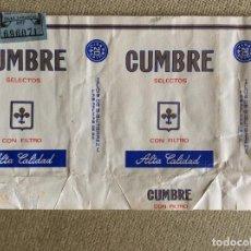 Paquetes de tabaco: ANTIGUO PAQUETE DE TABACO CUMBRE FORMATO RARO. Lote 144226458