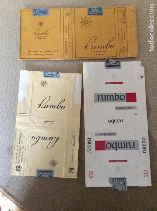 LOTE DE 3 PAQUETES DISTINTOS DE TABACO RUMBO (Coleccionismo - Objetos para Fumar - Paquetes de tabaco)