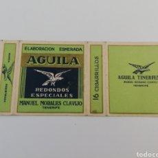 Paquetes de tabaco: ANTIGUO ENVOLTORIO PAQUETE DE TABACO CIGARRILLOS AGUILA TINERFEÑA, MANUEL MORALES CLAVIJO, RARO.. Lote 146458564