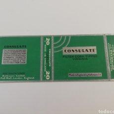 Paquetes de tabaco: ANTIGUO PAQUETE DE TABACO CIGARRILLOS CONSULATE , INGLATERRA, RARO.. Lote 146461010