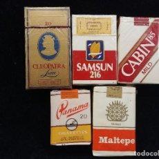 Paquetes de tabaco: CINCO PAQUETES DE TABACO DE INDIA, EGIPTO, JAPON Y 2 DE TURQUIA. Lote 146616458