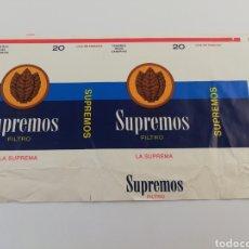 Paquetes de tabaco: ANTIGUO ENVOLTORIO PAQUETE DE TABACO CIGARRILLOS SUPREMOS, CANARIAS.. Lote 146703149