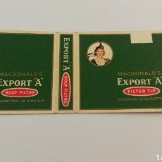Paquetes de tabaco: ANTIGUO ENVOLTORIO PAQUETE DE TABACO CIGARRILLOS MACDONALD'S EXPORT A.. Lote 146703465