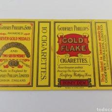 Paquetes de tabaco: ANTIGUO ENVOLTORIO PAQUETE DE TABACO CIGARRILLOS GOLD FLAKE GODFREY PHILLIPS, INGLATERRA. Lote 146703716