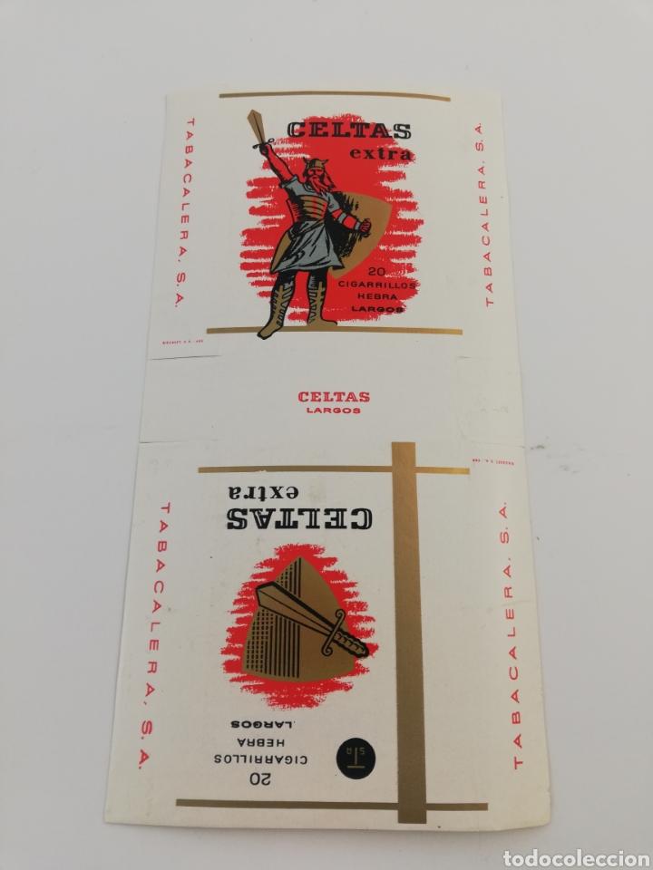 ANTIGUO ENVOLTORIO PAQUETE DE TABACO CIGARRILLOS CELTAS EXTRA LARGOS. (Coleccionismo - Objetos para Fumar - Paquetes de tabaco)