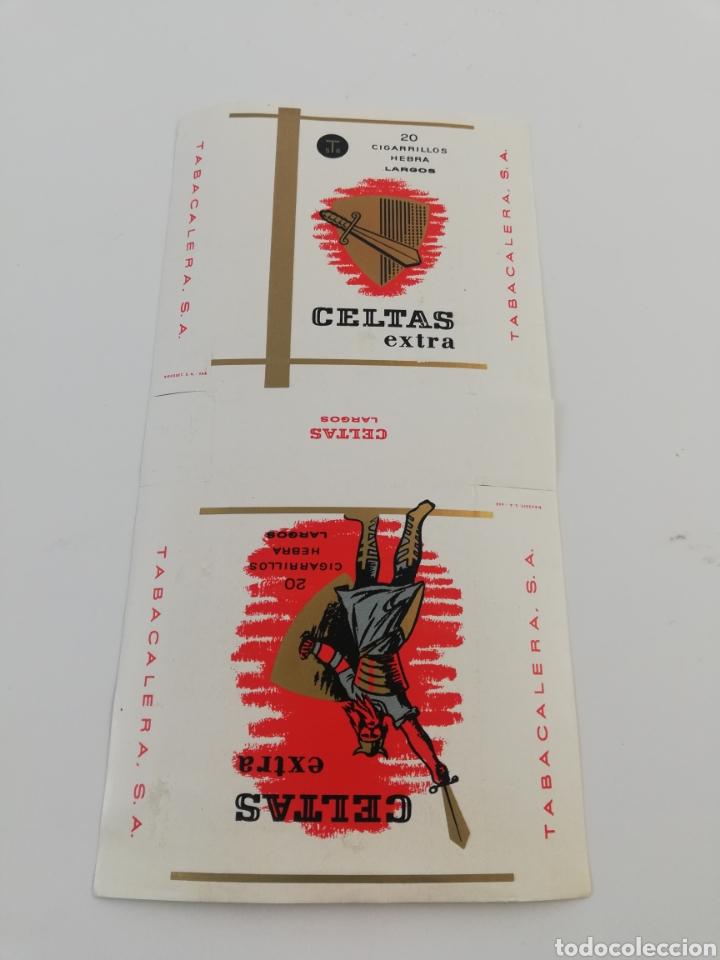 Paquetes de tabaco: ANTIGUO ENVOLTORIO PAQUETE DE TABACO CIGARRILLOS CELTAS EXTRA LARGOS. - Foto 2 - 146703822