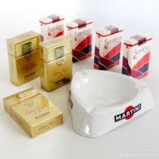 Paquetes de tabaco: LOTE PAQUETES TABACO AÑOS 70 PRECINTADOS Y CENICERO MARTINI REGALO. Lote 147167426