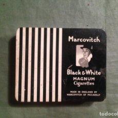Paquetes de tabaco: MARCOVITCH. BLACK & WITHE. MADE IN ENGLAND. CAJA METÁLICA NUMERADA - CON 5 CIGARRILLOS. Lote 147534226