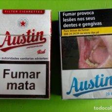 Paquetes de tabaco: 2 PAQUETES DE TABACO AUSTIN. VACIOS. PORTUGAL. Lote 150582190