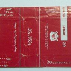 Paquetes de tabaco: ENVOLTORIO DE TABACO MARCA LA FLOR CARRILLO-LARGOS RARO. Lote 152063386