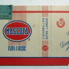 Paquetes de tabaco: ENVOLTORIO DE TABACO MARCA MASCOTA EXTRA LARGOS SUCESORES DE DIEGO MORENO. Lote 152170294