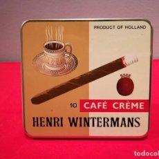 Paquetes de tabaco: CAJA METÁLICA VACÍA DE CAFÉ CRÈME HENRI WINTERMANS 10 PURITOS. Lote 155472730