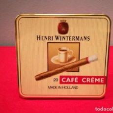 Paquetes de tabaco: CAJA METÁLICA VACÍA DE CAFÉ CRÈME HENRI WINTERMANS 20 PURITOS. Lote 155473774