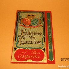 Paquetes de tabaco: ANTIGUO PAQUETE DE TABACO LABORES DE CANARIAS PARA LA RENTA DE TABACO DE ESPAÑA - AÑO 1920-30S.. Lote 157129154