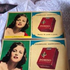 Paquetes de tabaco: LOTE DE DOS CUARTILLAS CON PUBLICIDAD DE CIGARRILLOS DOMINÓ, RARAS. Lote 162457548