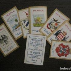Paquetes de tabaco: ESCUDOS-COLECCION 8 CROMOS-LA MASCOTA-DIEGO MORENO MIRANDA-TENERIFE-VER FOTOS-(V-16.917). Lote 163965242