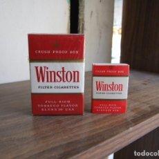 Paquetes de tabaco: ANTIGUO PAQUETE DE WINSTON PRECINTADO CON SU CAJA DE CERILLAS NUEVA. Lote 170518232