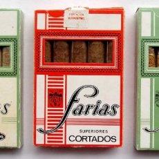 Paquetes de tabaco: LOTE DE 3 CAJAS DE FARIAS. CORTADOS Y LARGOS. CADA CAJA CON 5 PUROS CELOFANADOS.. Lote 174085422