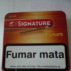 Paquetes de tabaco: CAJA METÁLICA VACÍA DE TABACO SIGNATURE FINOS SERIE RED .. 20 UNIDADES.. Lote 174393114