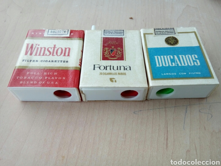 Paquetes de tabaco: LOTE DE 3 SACAPUNTAS EN FORMA DE PAQUETE DE TABACO AÑOS 70-80 - Foto 3 - 194596442