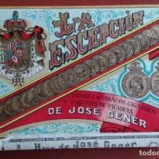 Paquetes de tabaco: PAQUETE PICADURA SELECTA DE JOSE GENER - LA ESCEPCION - LA HABANA. Lote 176485065