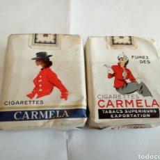 Paquetes de tabaco: LOTE DE 2 PAQUETES DE TABACO CARMELA. Lote 176849132