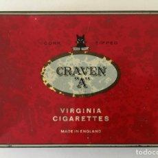 Paquetes de tabaco: CAJA METAL DE PUROS, GRAVEN A VIRGINIA CIGARRETES INGLATERRA CORK TIPPED. Lote 181463798