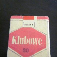 Paquetes de tabaco: ANTIGUO RARO PAQUETE CAJETILLA TABACO KLUBOWE NUEVO SIN ABRIR POLONIA 20 CIGARROS ÉPOCA COMUNISTA. Lote 182173860