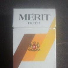 Paquetes de tabaco: ANTIGUO PAQUETE Ó CAJETILLA DE TABACO - MERIT FILTER - VENTA EN ITALIA . Lote 187390500
