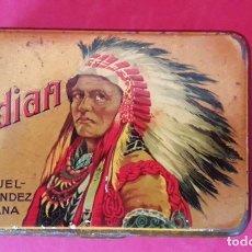 Paquetes de tabaco: CAJA , LATA METALICA DE TABACO INDIAN DE MANUEL FERNANDEZ - HABANA AÑOS 20/30. Lote 191829657