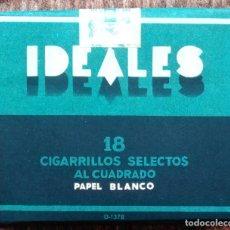 Paquetes de tabaco: PAQUETE DE TABACO IDEALES, 18 CIGARRILLOS BLANCOS AL CUADRADO. PRECINTADO Y SIN ESTRENAR. Lote 214377407